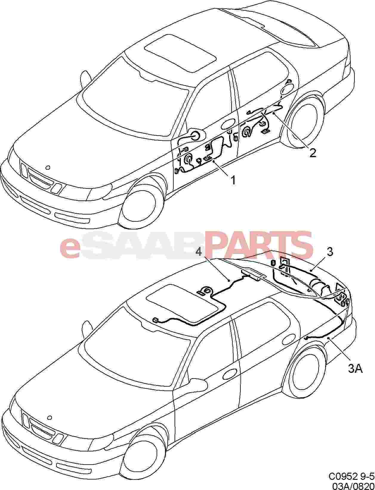 Esaabparts saab 9 5 9600 > electrical parts > wiring harness > doors roof and rear hatch