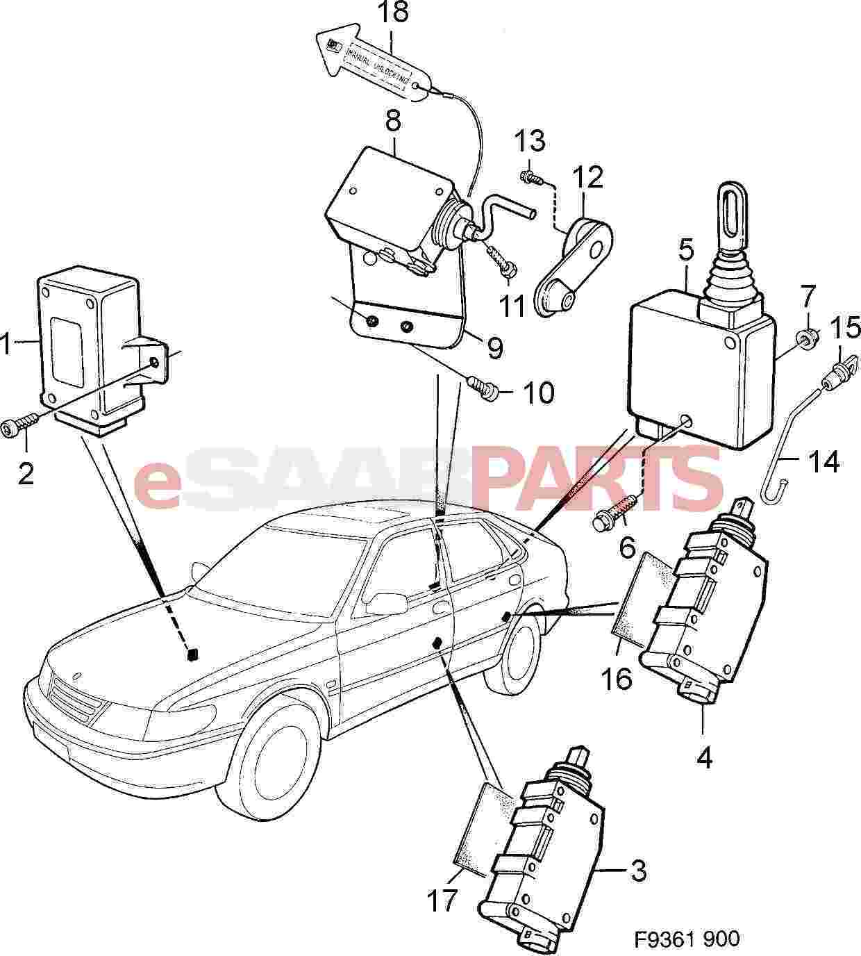 hight resolution of esaabparts com saab 900 car body external parts locks related