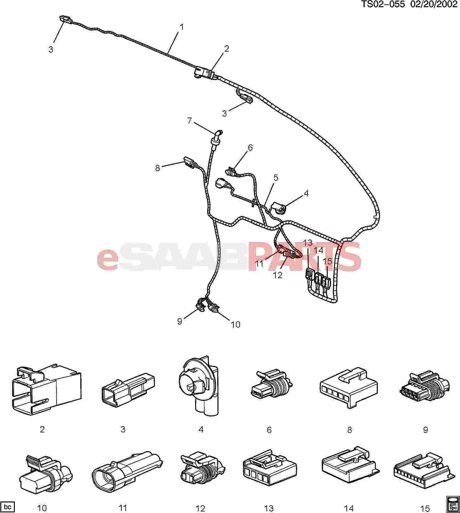hight resolution of esaabparts com saab 9 7x electrical parts wiring harness wiring harness lift gate