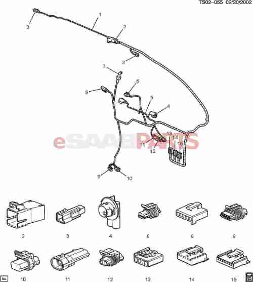 small resolution of esaabparts com saab 9 7x electrical parts wiring harness wiring harness lift gate