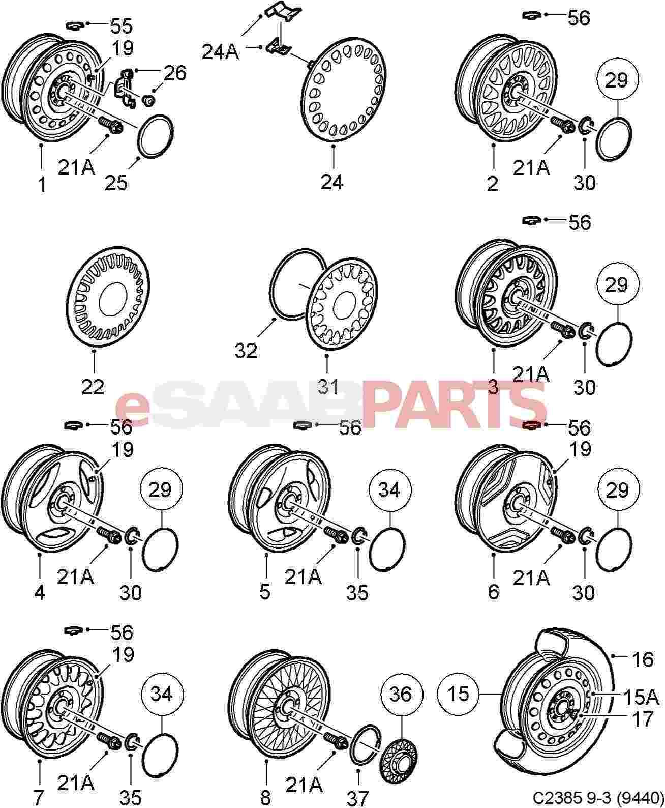 Saab Wheel Cap