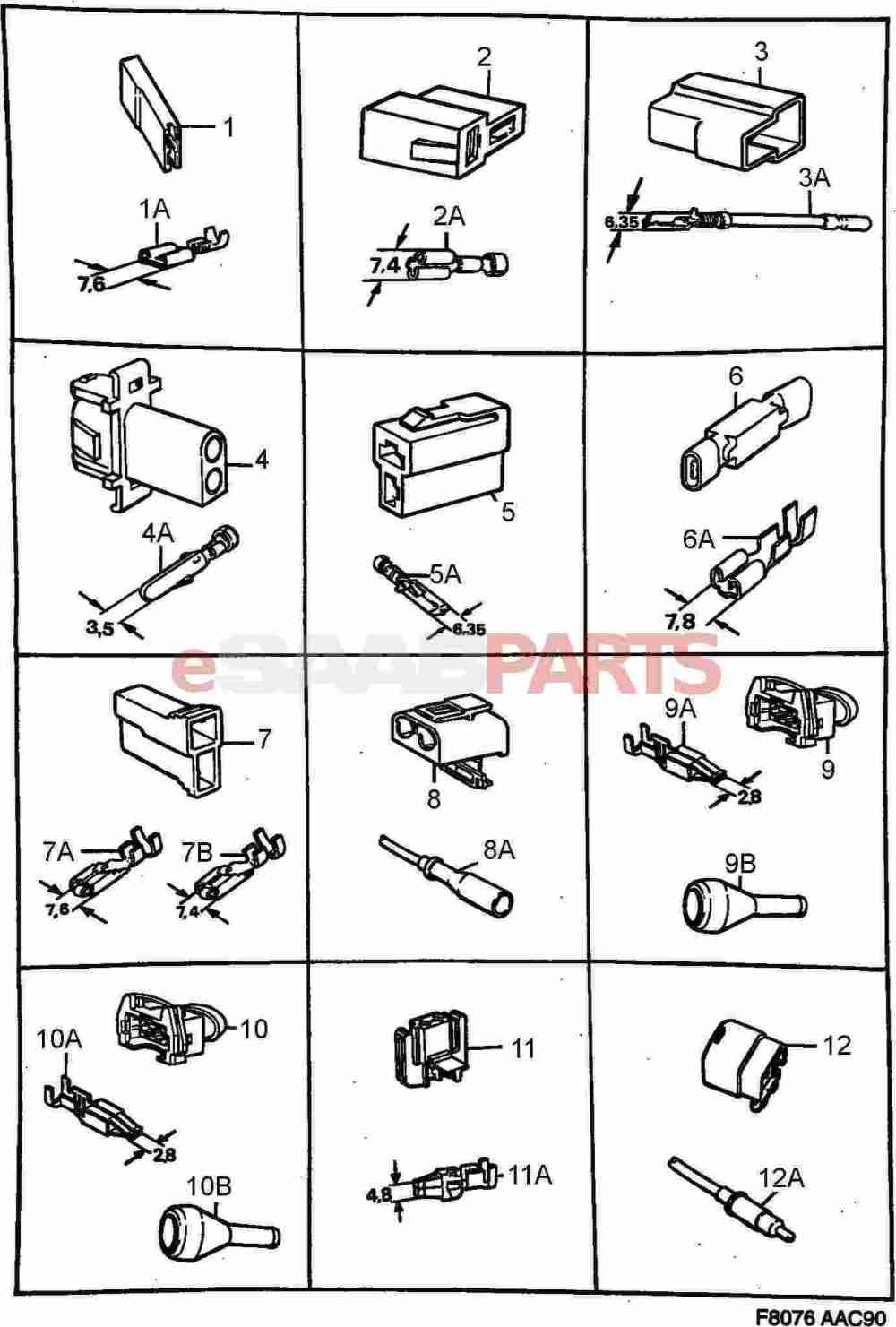medium resolution of esaabparts com saab 900 electrical connector parts connectors all types connector housing etc