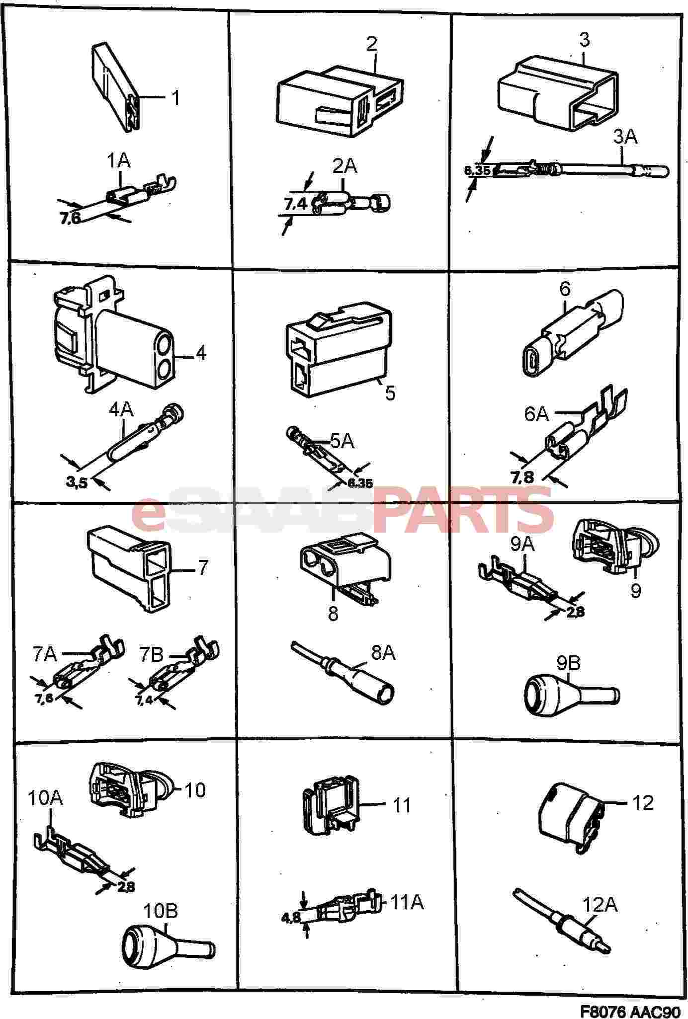 hight resolution of esaabparts com saab 900 electrical connector parts connectors all types connector housing etc
