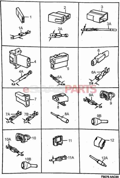 small resolution of esaabparts com saab 900 electrical connector parts connectors all types connector housing etc