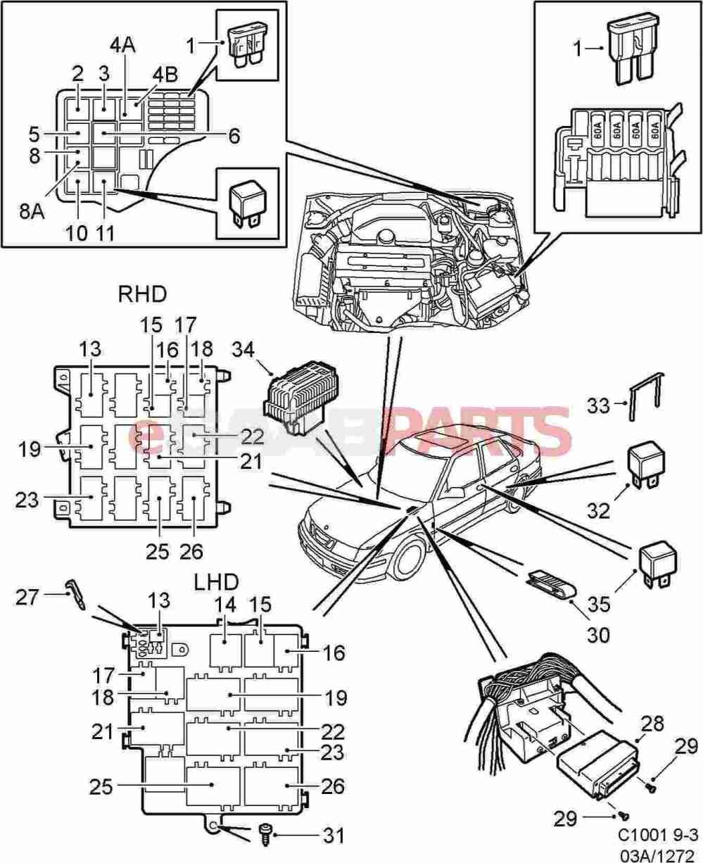 medium resolution of  1999 saab 93 fuse box genuine saab parts from esaabparts com