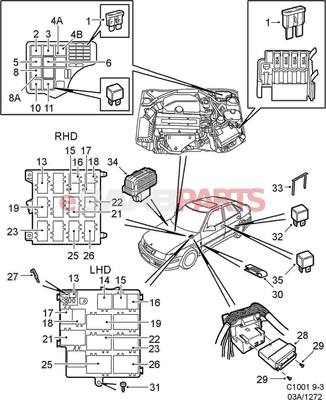 hight resolution of  1999 saab 93 fuse box genuine saab parts from esaabparts com