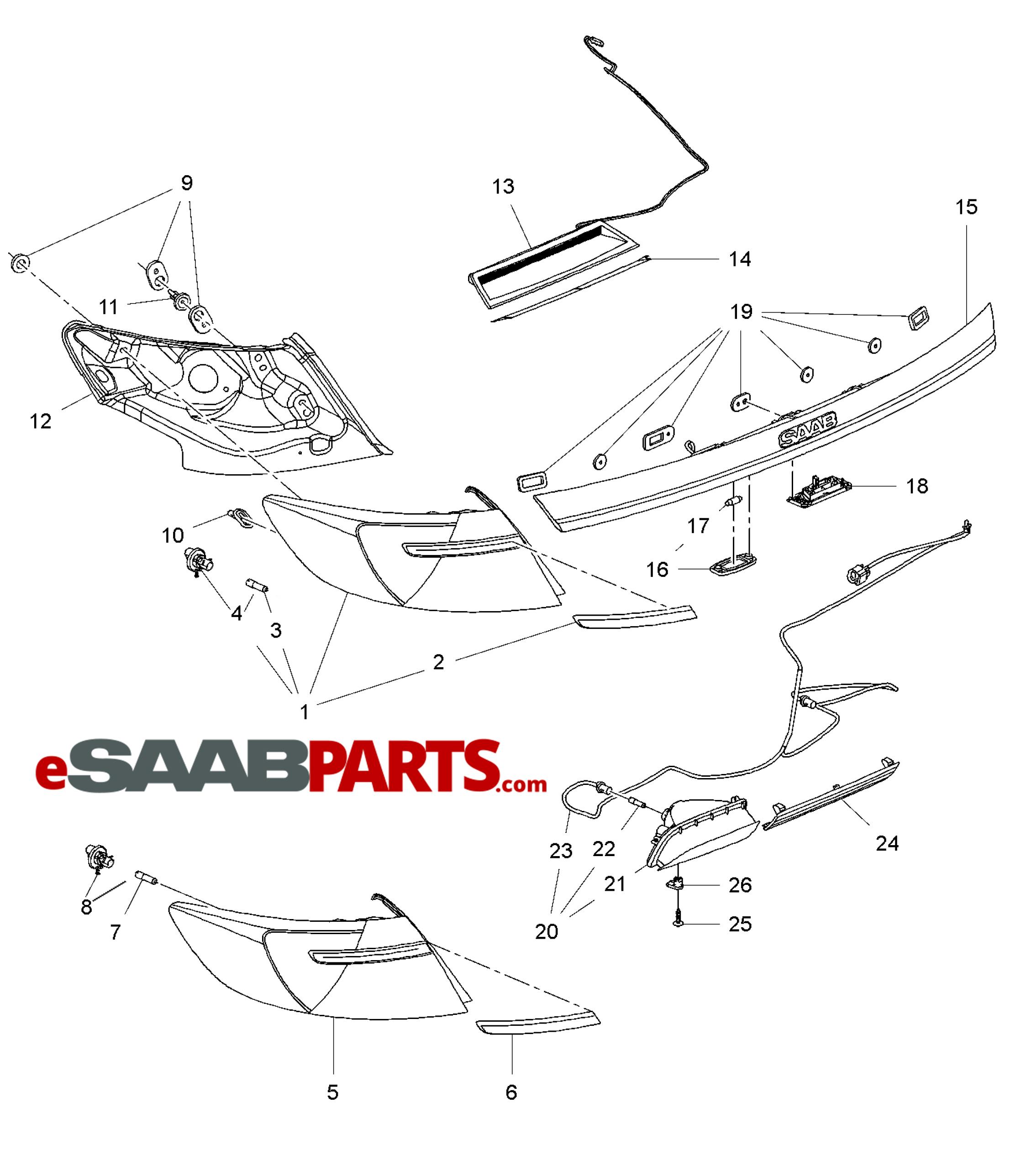 [13320958] SAAB 9-5NG LED Tail Light Conversion Kit