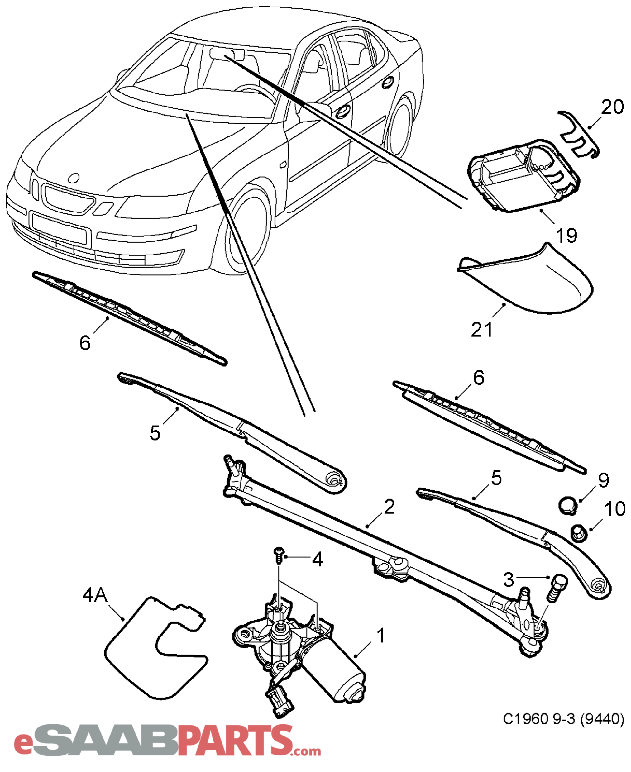 Windshield wiper chassis 4d 5104