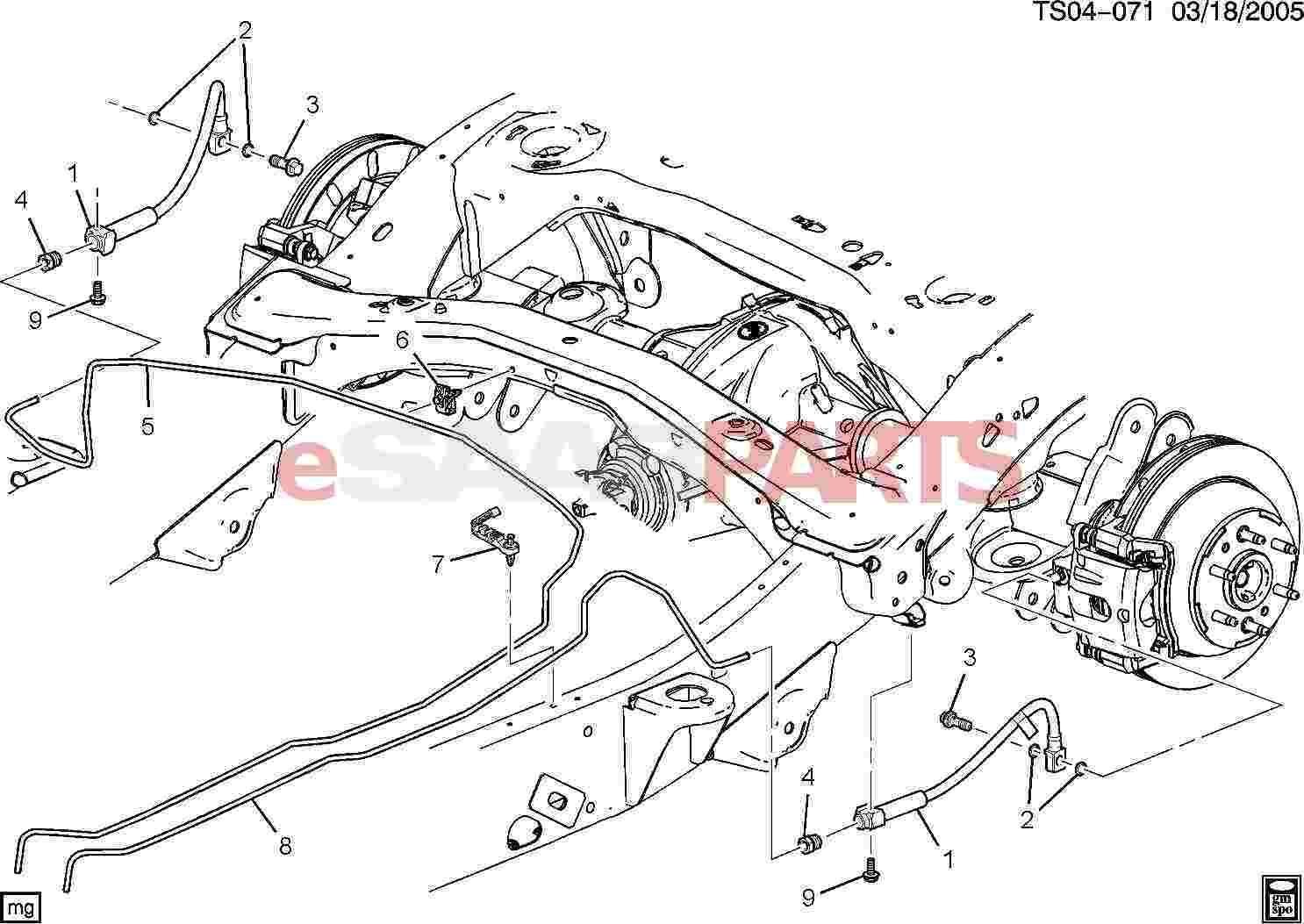 Saab Nut Rear Brk Pipe