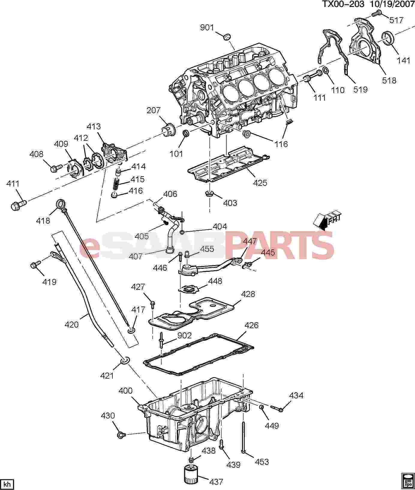 hight resolution of esaabparts com saab 9 7x engine parts engine internal 5 3m engine asm 5 3l v8 part 4 oil pump pan related parts 5 3m