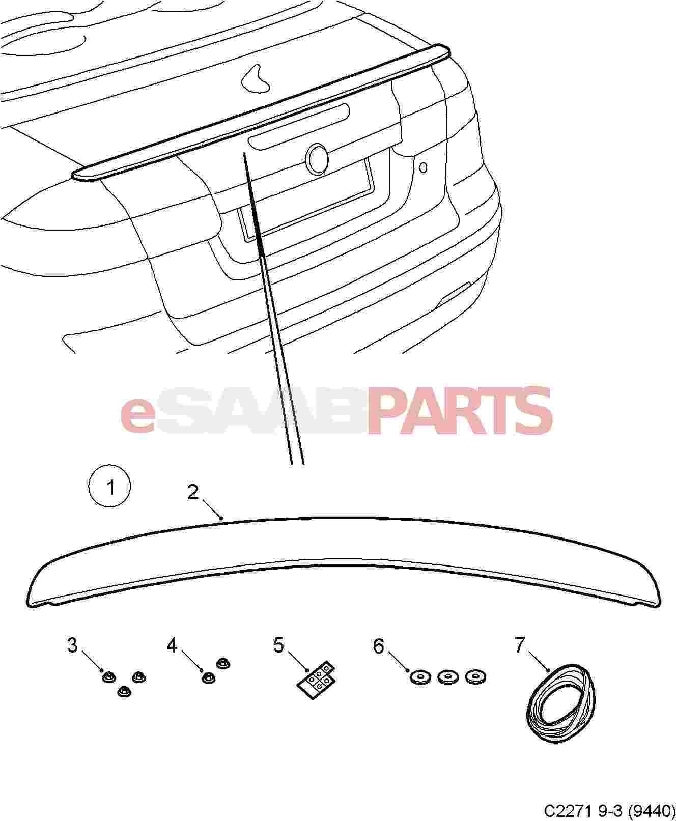 [12848386] SAAB Rear Trunk Spoiler for Saab 9-3 Aero