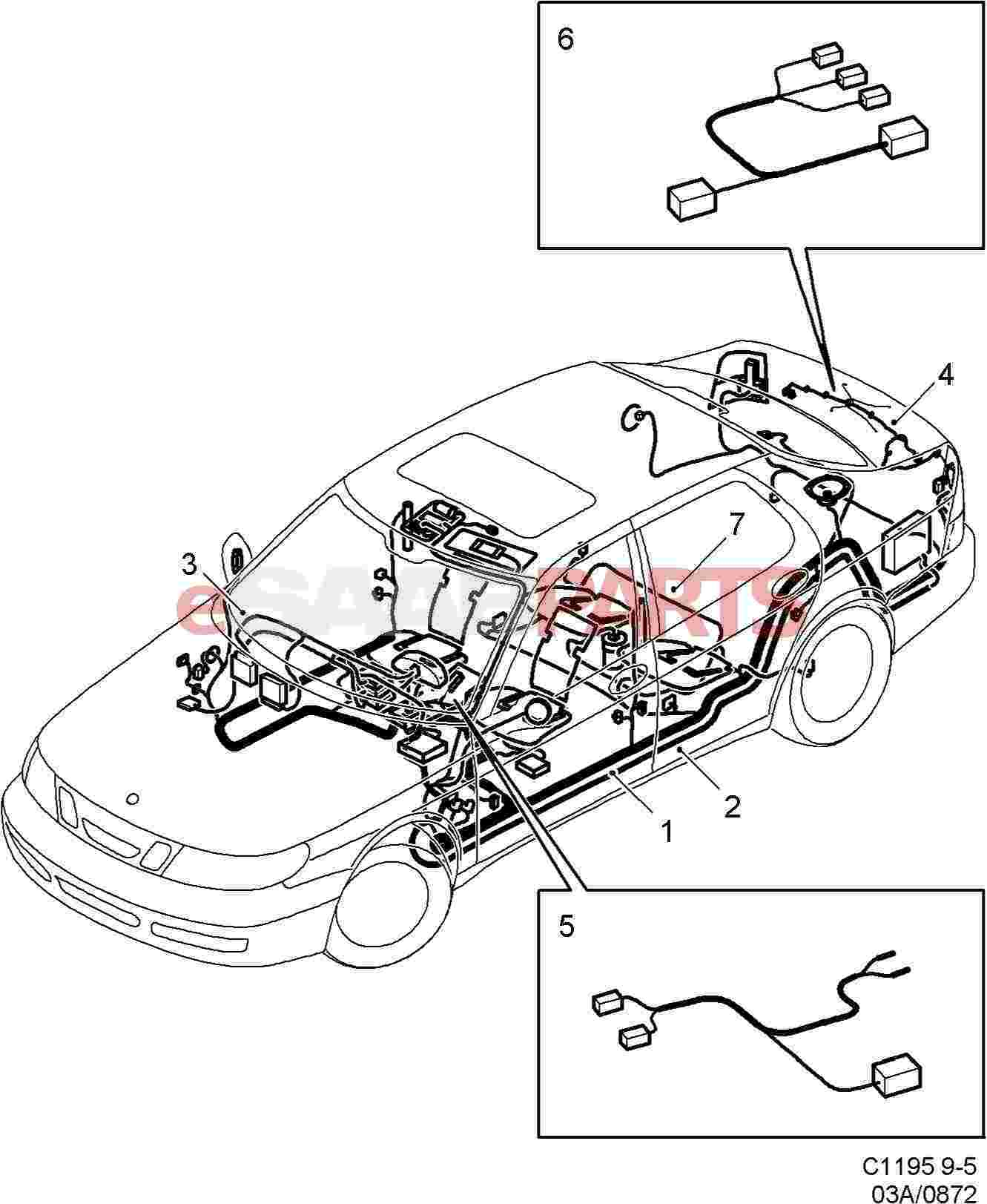hight resolution of esaabparts com saab 9 5 9600 electrical parts wiring harness rear