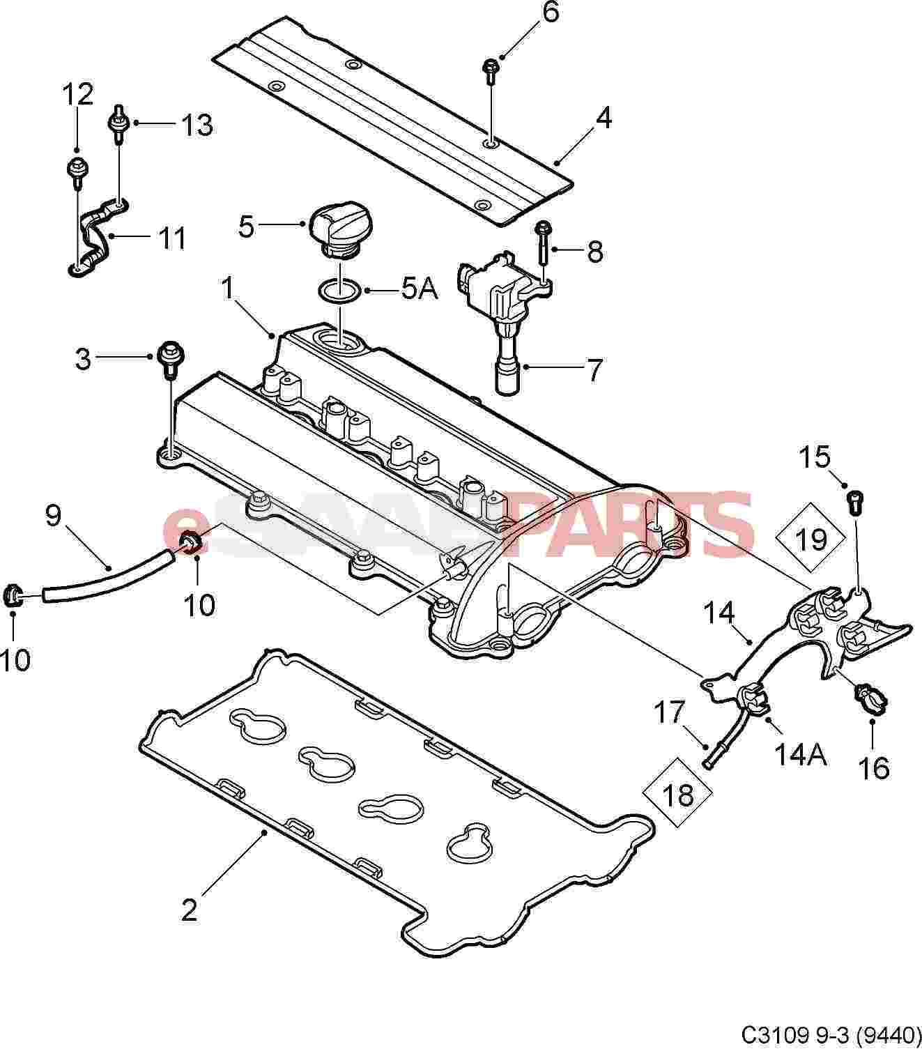hight resolution of esaabparts com saab 9 3 9440 engine parts valve cover valve cover 2 0l b207