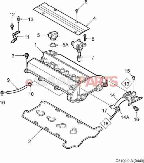 small resolution of esaabparts com saab 9 3 9440 engine parts valve cover valve cover 2 0l b207