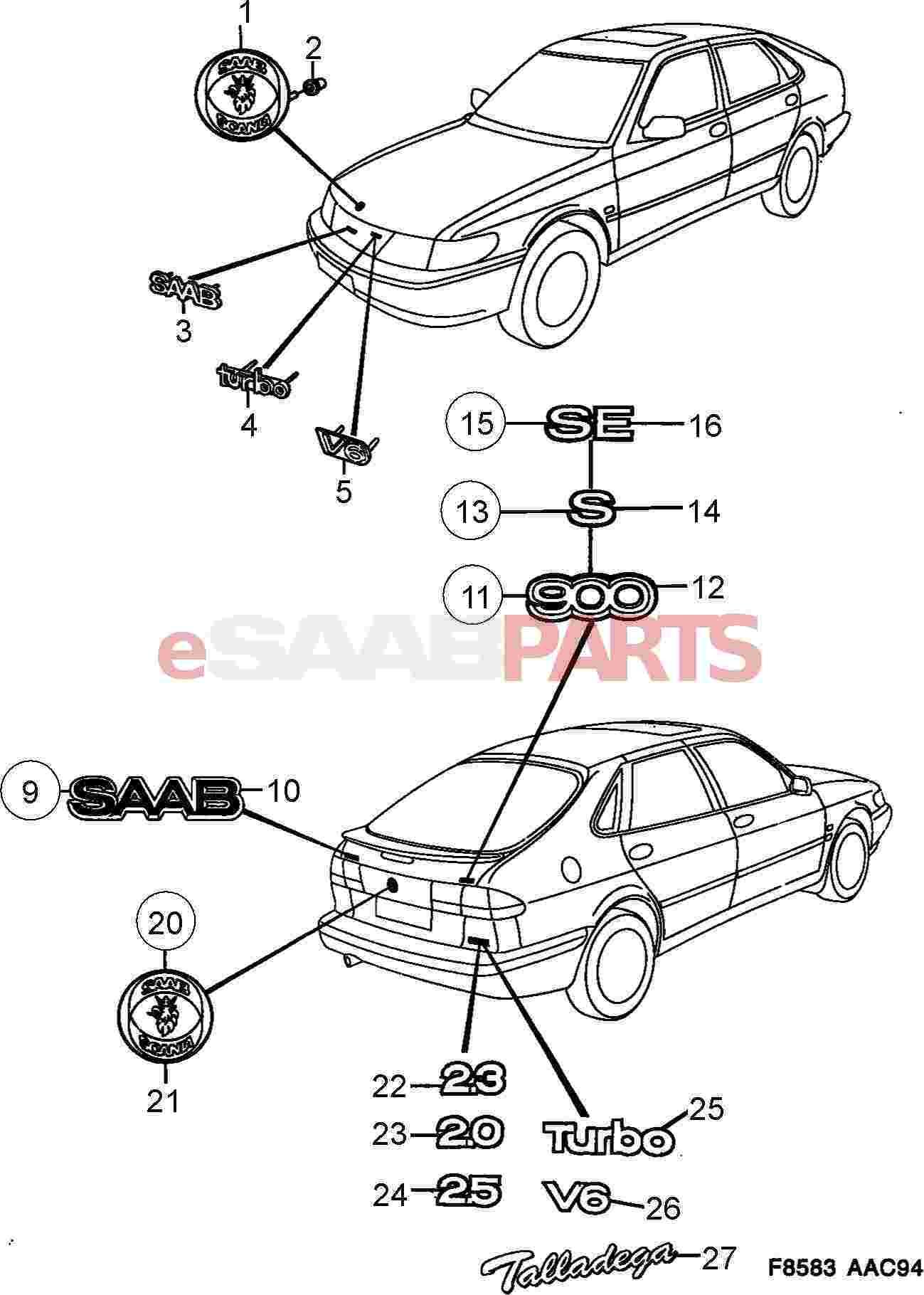 Saab Saab Scania Rear Reflection Panel Emblem