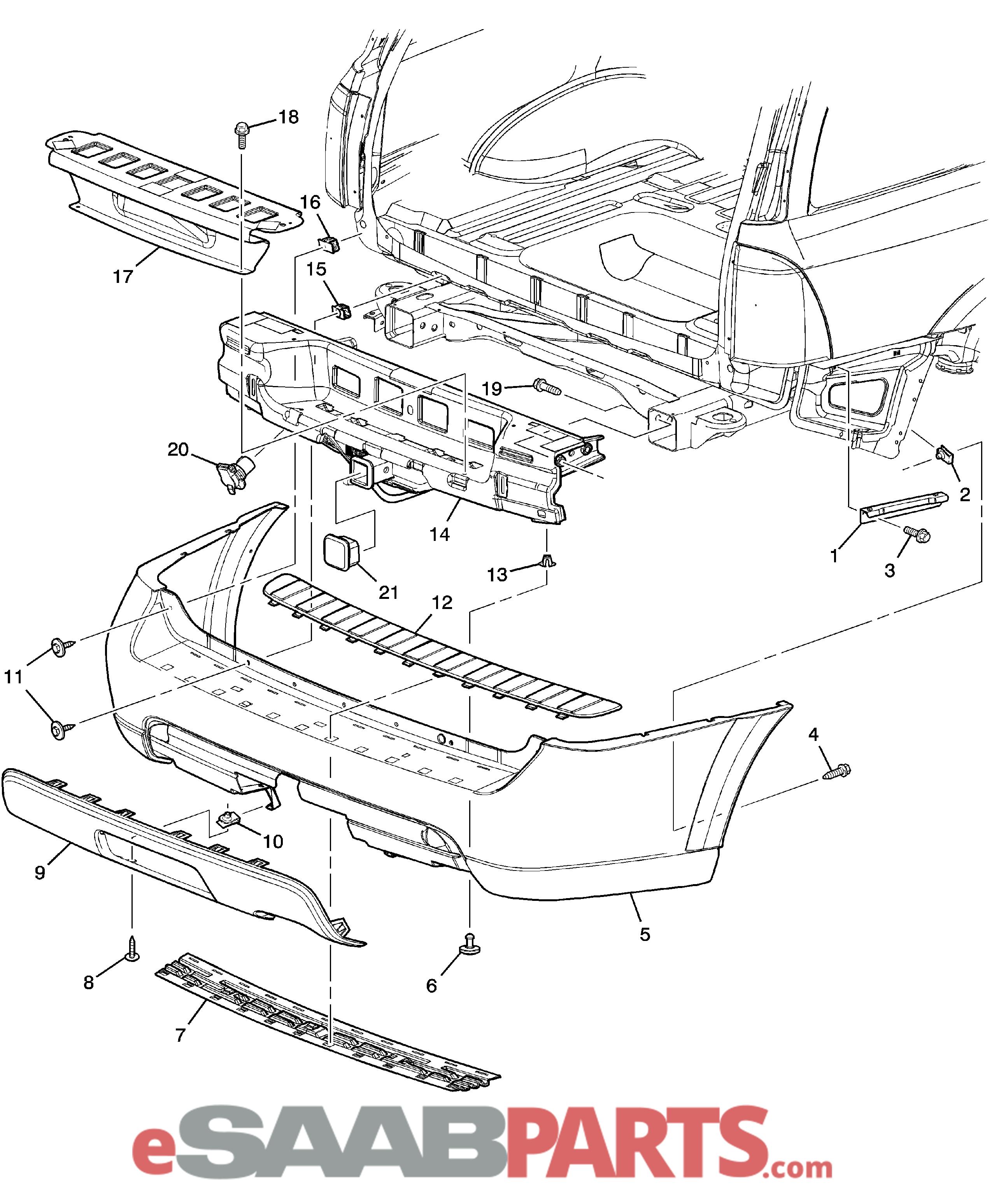 Saab Rear Bumper Cover