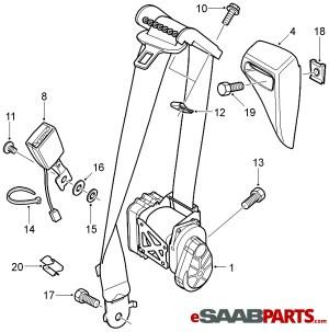 [93185370] SAAB Seat Belt  Driver LH Convertible (Manual