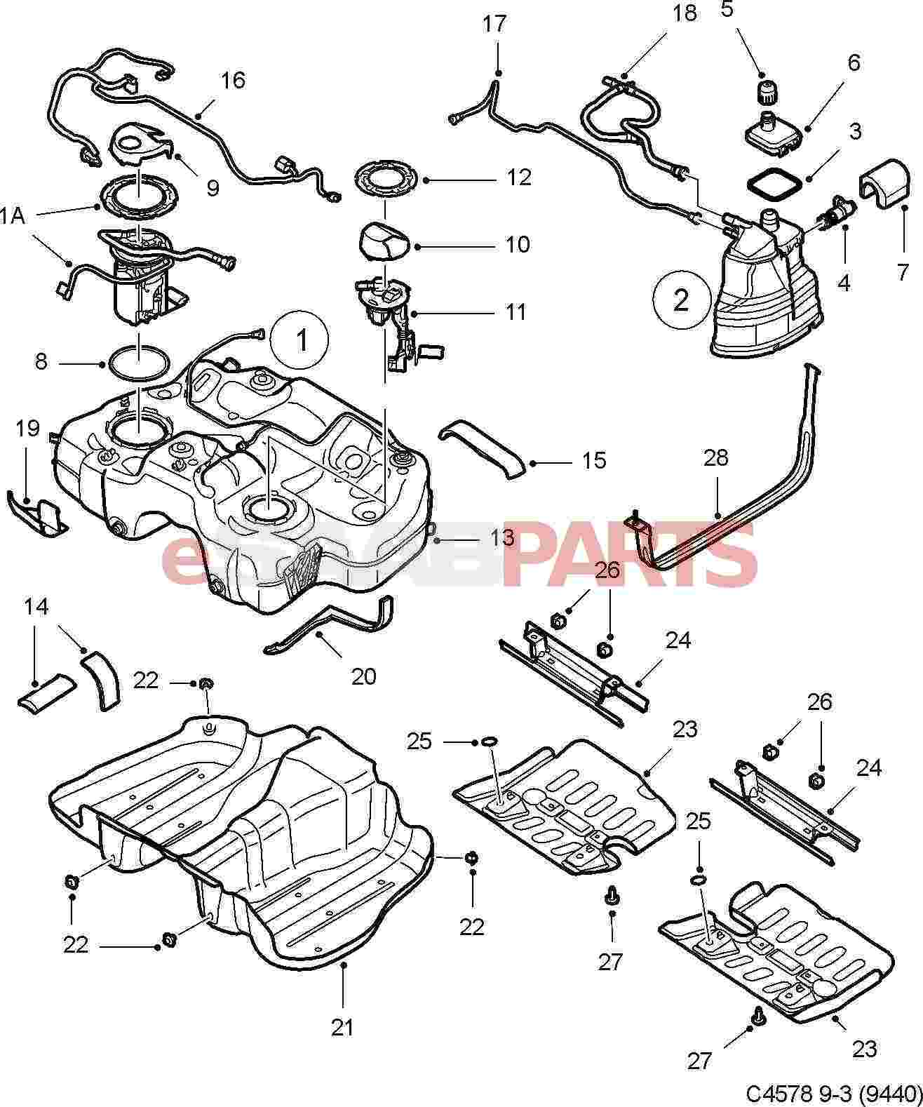 hight resolution of esaabparts com saab 9 3 9440 u003e engine parts u003e fuel tank u003e fuel saab 900 fuel pump wiring diagram saab fuel pump diagram
