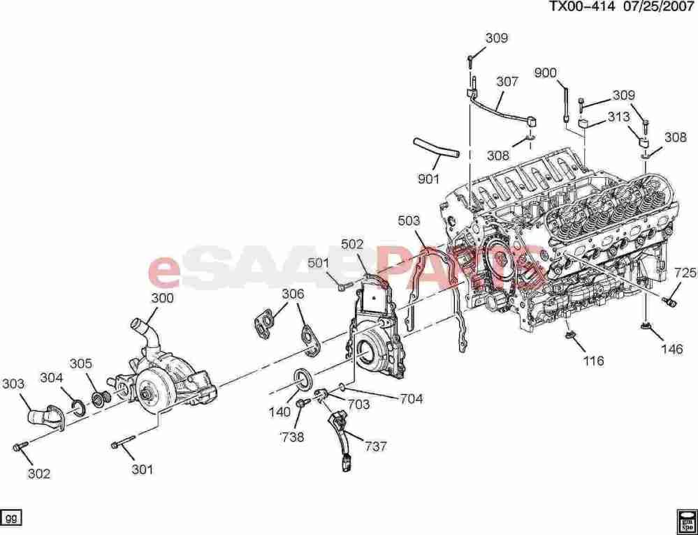 medium resolution of saab 9 7x parts engine engine internal 5 3m engine asm 5 3l v8 part 3 front cover cooling 5 3m