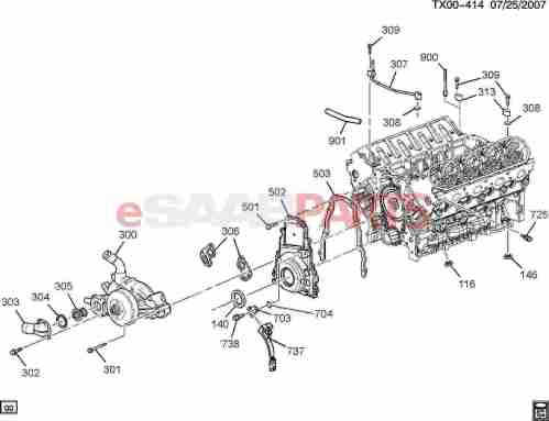 small resolution of saab 9 7x parts engine engine internal 5 3m engine asm 5 3l v8 part 3 front cover cooling 5 3m