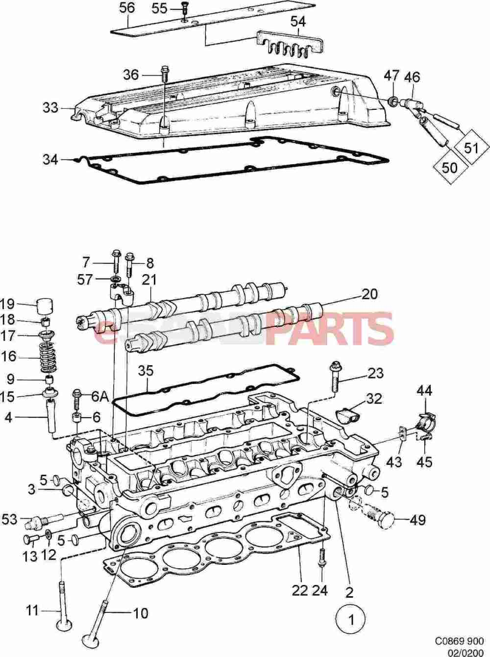 medium resolution of 8822041 saab valve cover gasket kit genuine saab parts from egr valve 150 scooters valve cover diagram