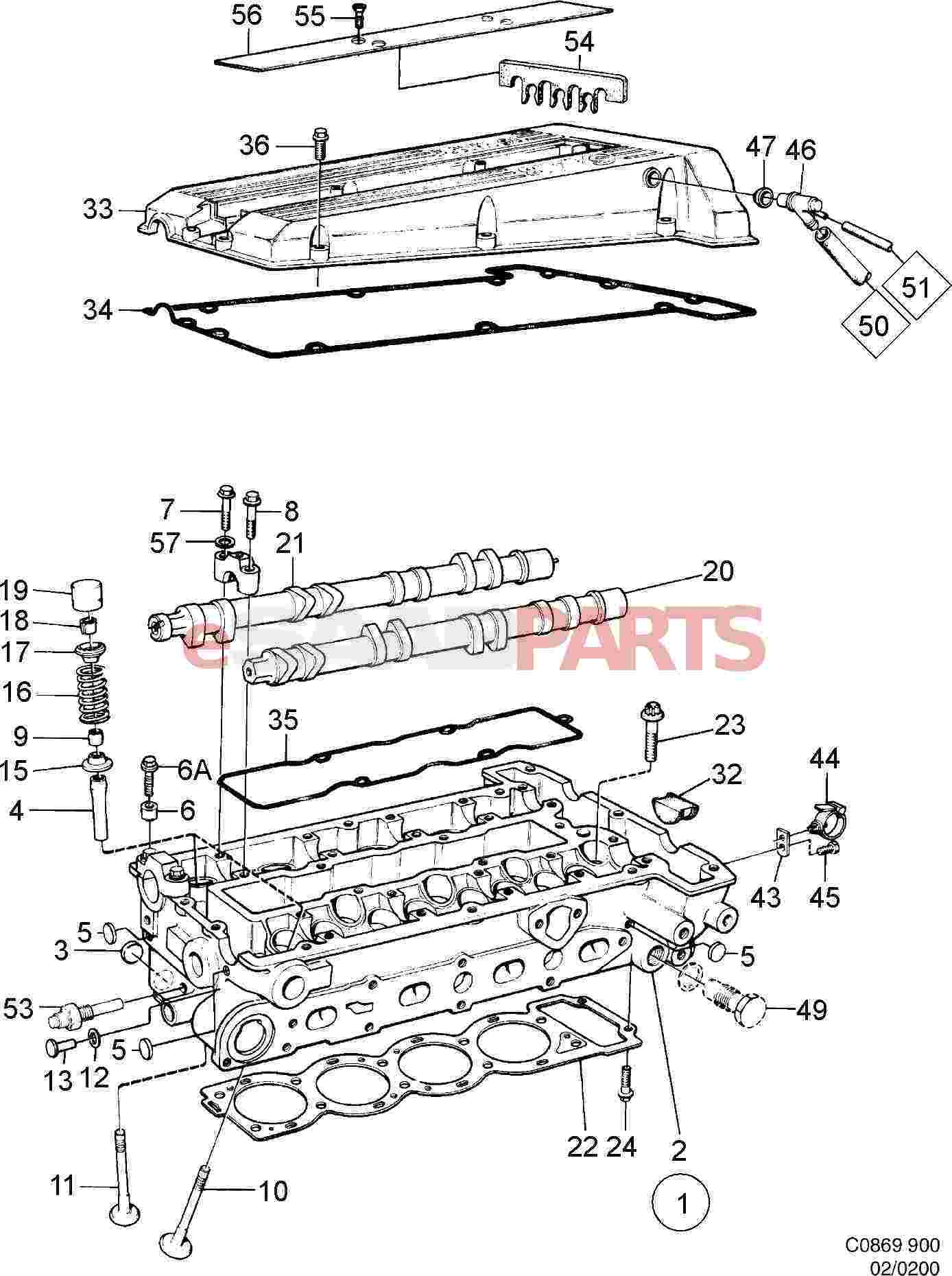 hight resolution of 8822041 saab valve cover gasket kit genuine saab parts from egr valve 150 scooters valve cover diagram