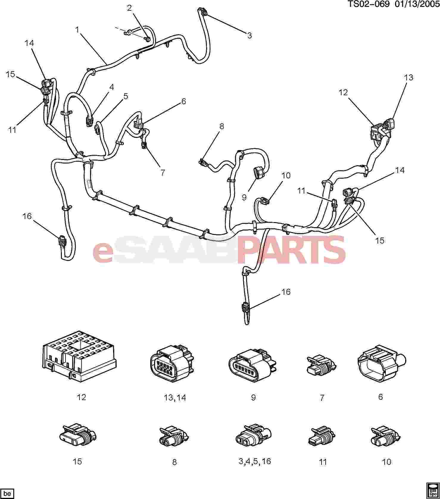 hight resolution of esaabparts com saab 9 7x electrical parts wiring harness wiring harness front lamps