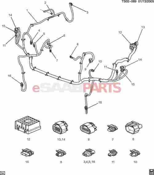 small resolution of esaabparts com saab 9 7x electrical parts wiring harness wiring harness front lamps