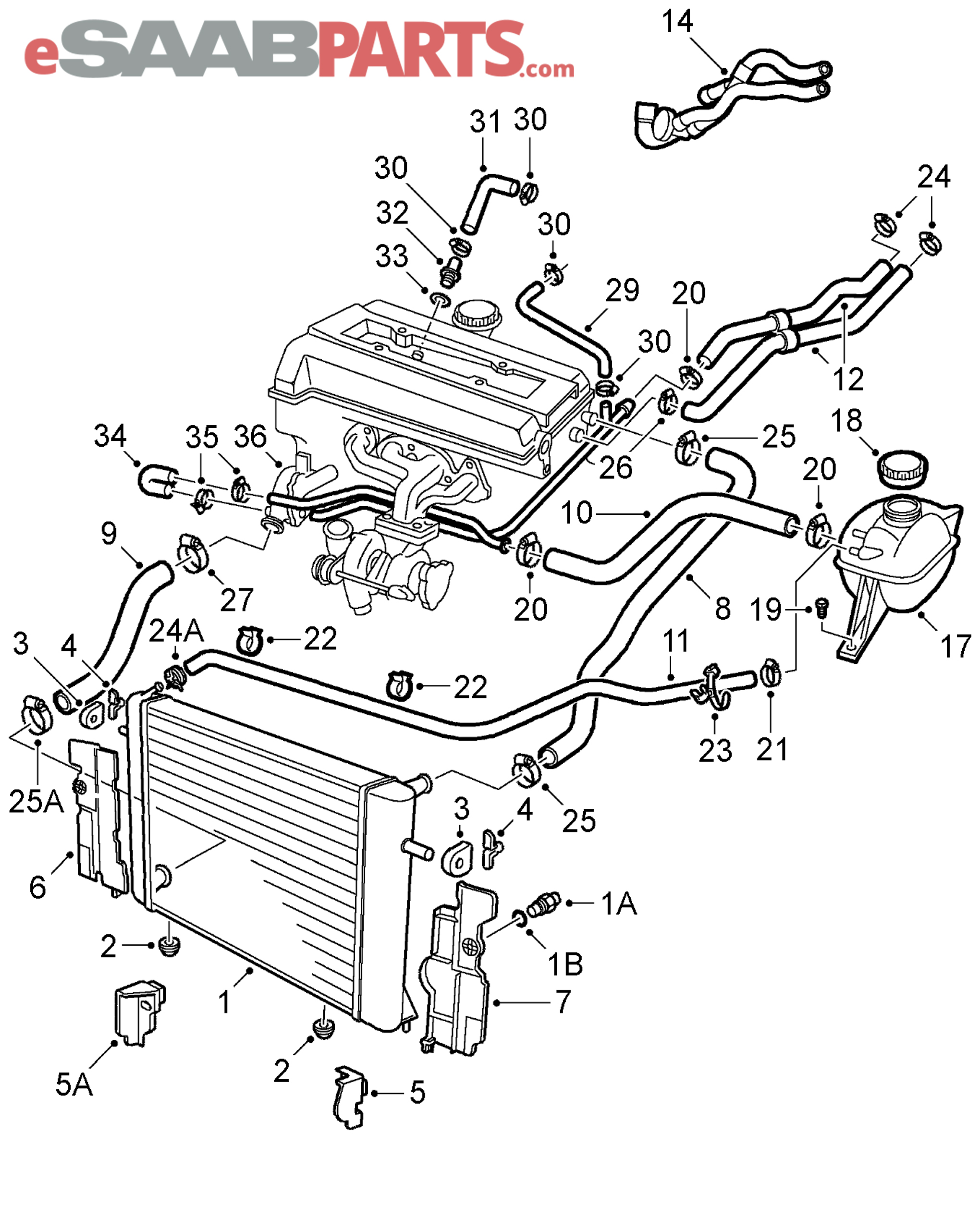 Saab 9 3 Cooling Parts Diagram. Saab. Auto Parts Catalog