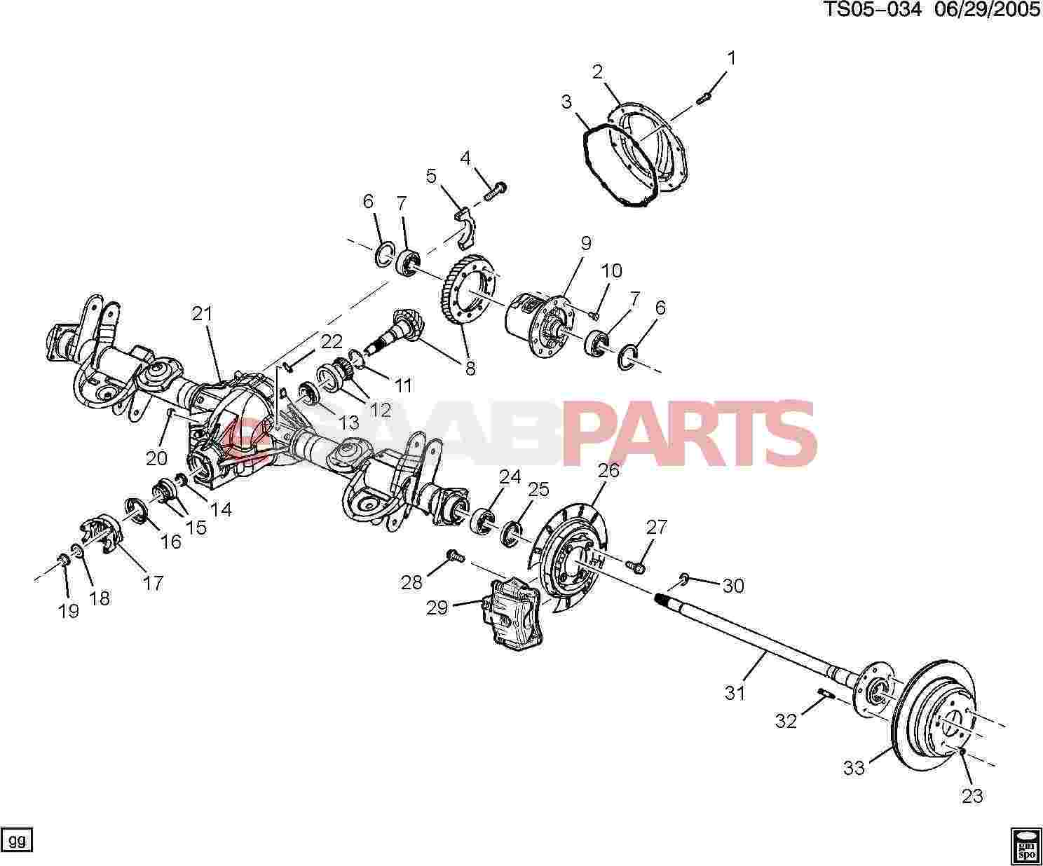 2006 Saab 9 7x Rear Axle Diagram. Saab. Auto Parts Catalog