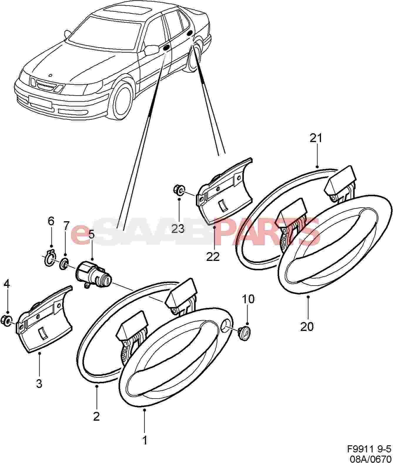 Saab Rear Door Handle Seal Lh