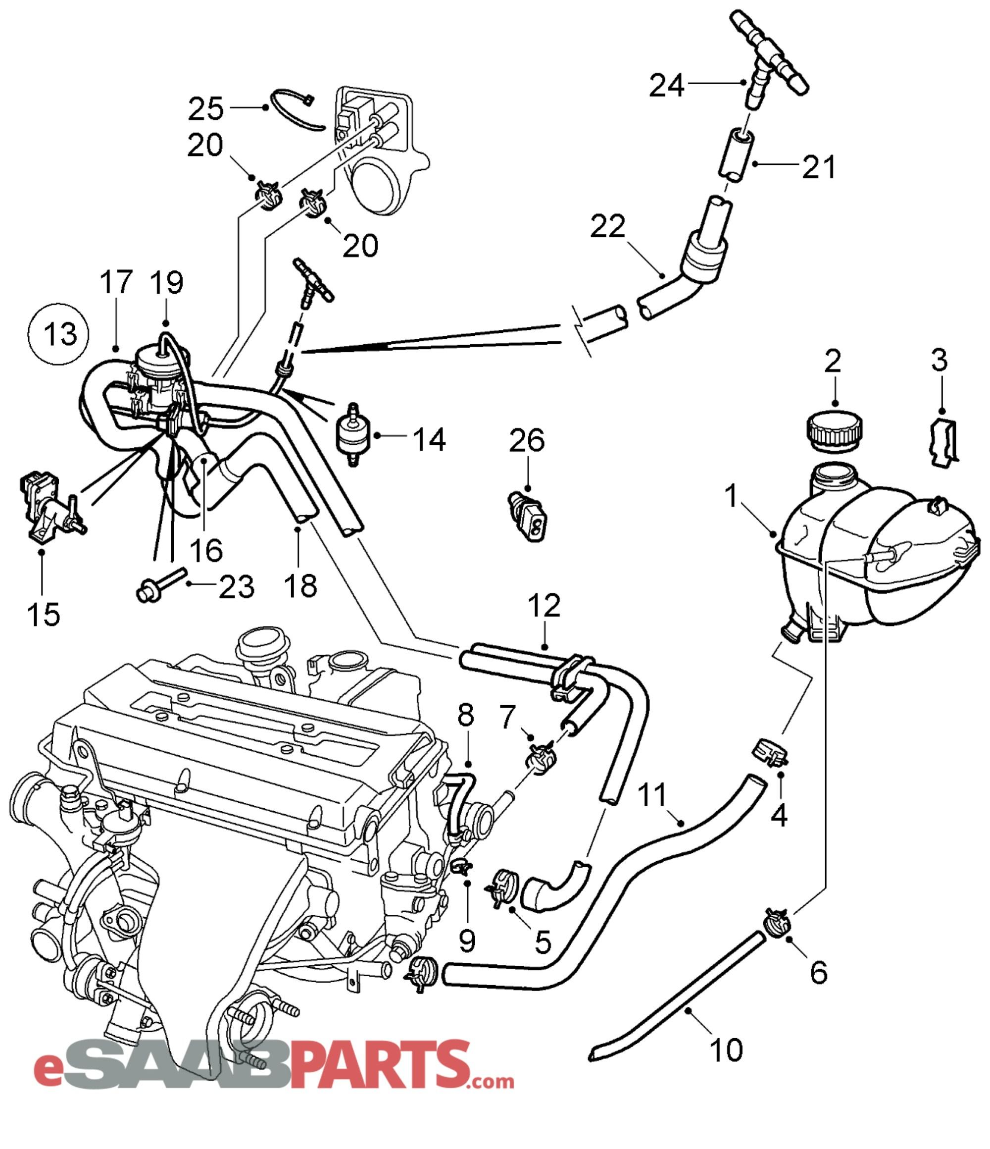 hight resolution of esaabparts com saab 9 5 9600 engine parts coolant expansion tank coolant expansion tank b235