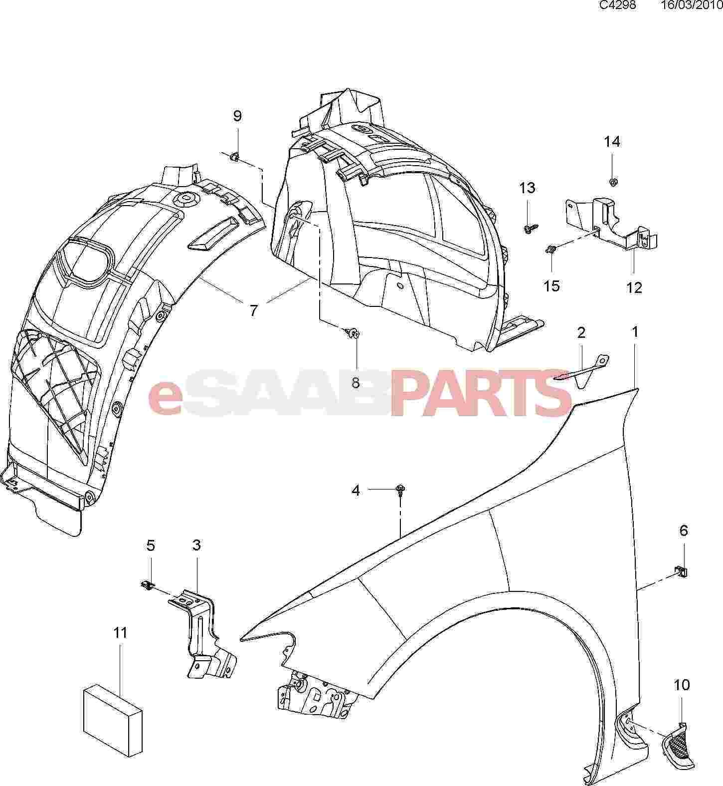 hight resolution of esaabparts com saab 9 5 650 car body external parts fender front fender wheel arch liner