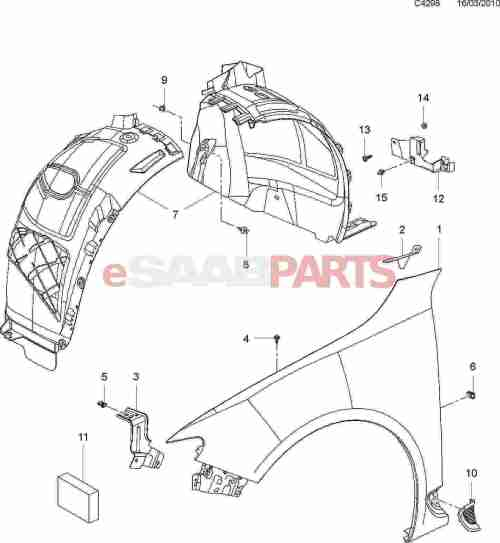 small resolution of esaabparts com saab 9 5 650 car body external parts fender front fender wheel arch liner