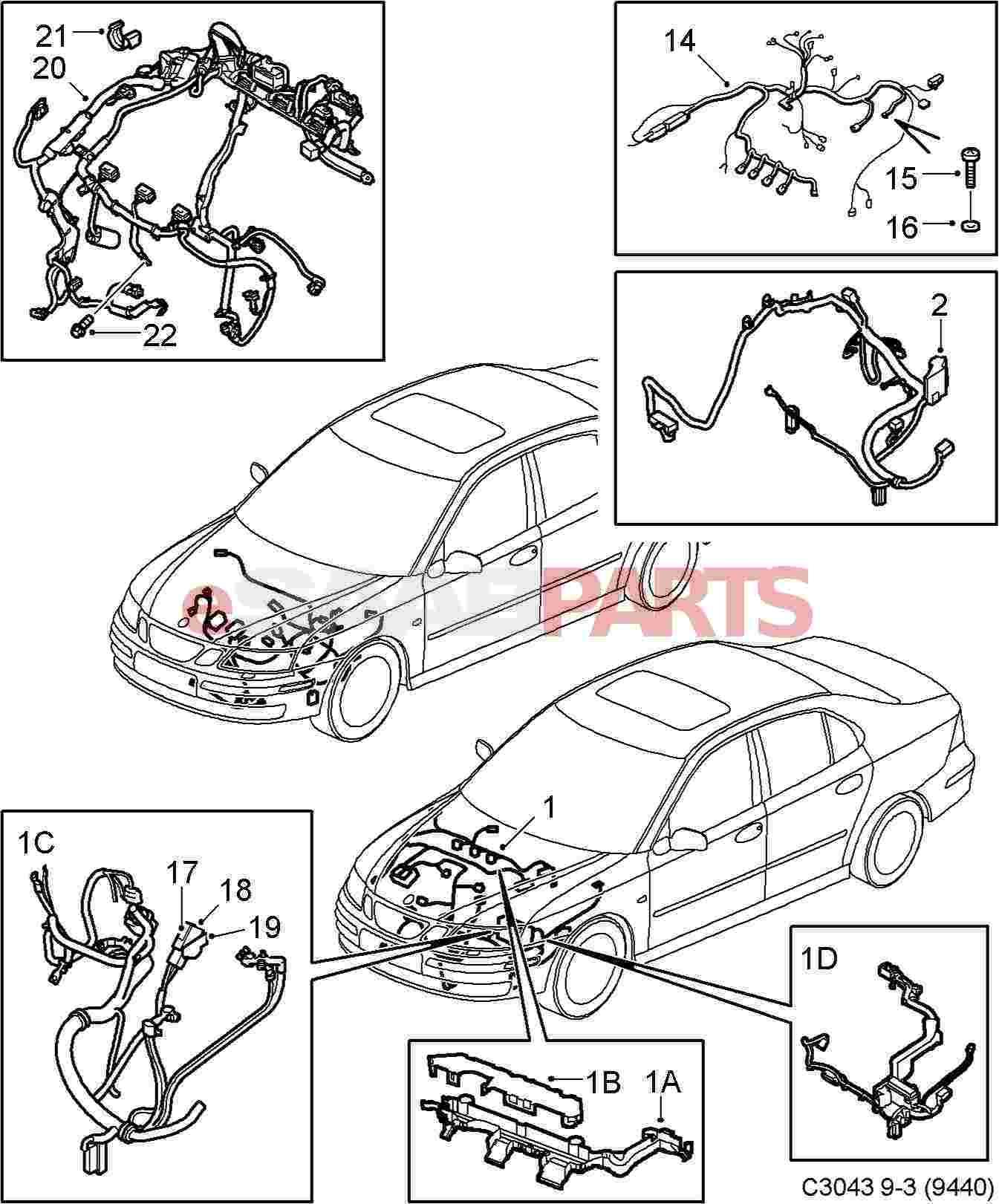 hight resolution of saab 9 3 2006 wiring harness wiring diagrams konsult esaabparts com saab 9 3 9440