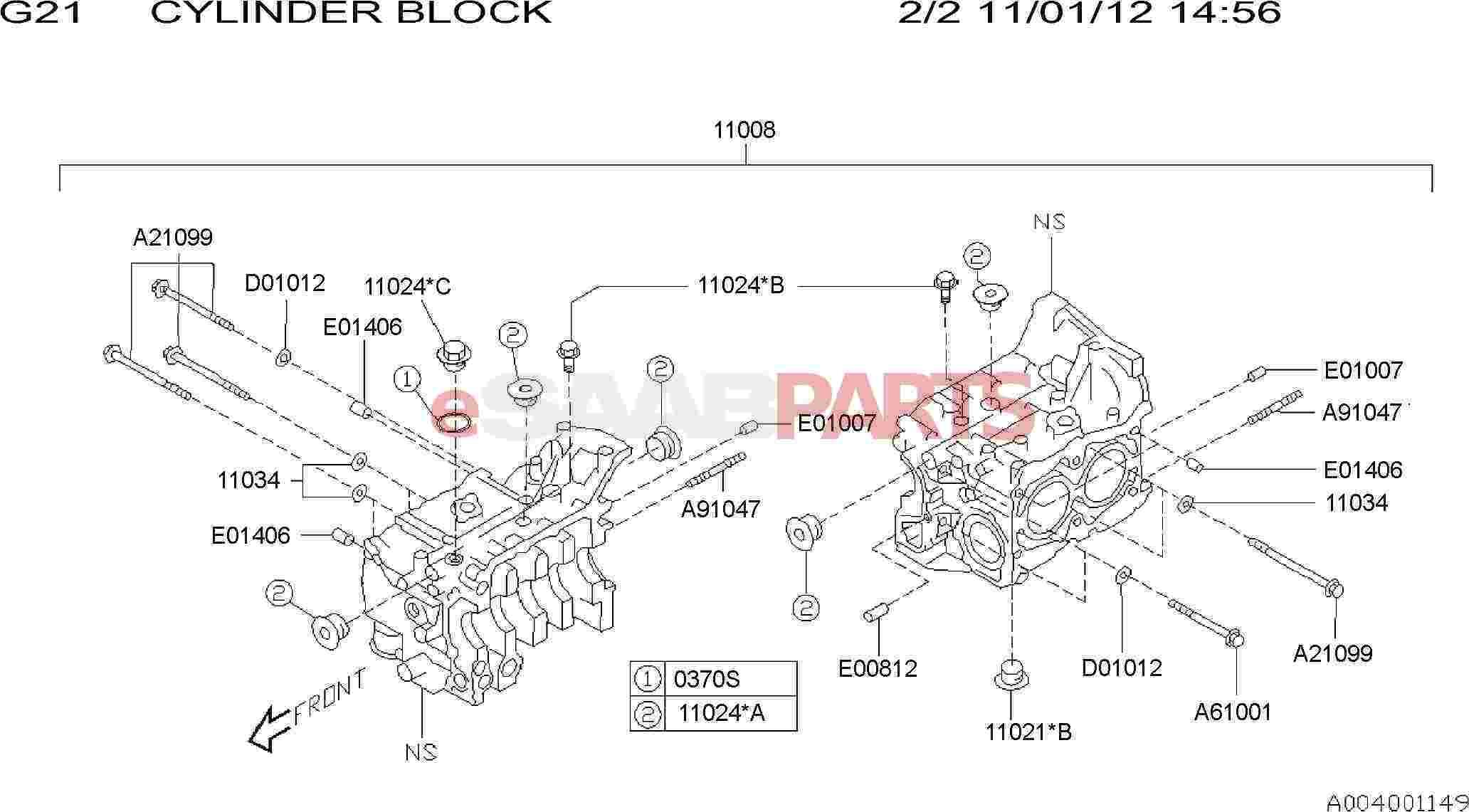 Saab Plug Cylinder Block