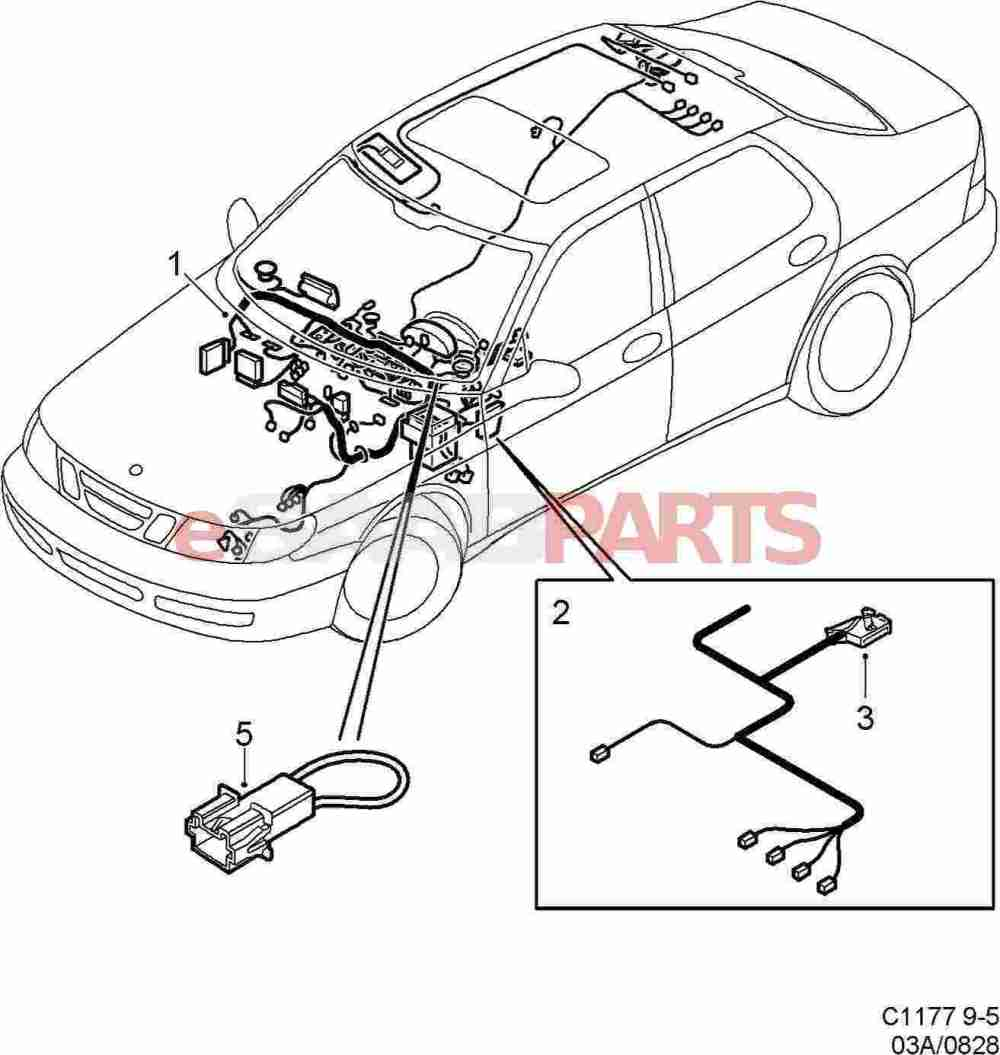 medium resolution of esaabparts com saab 9 5 9600 electrical parts wiring harness instrument panel
