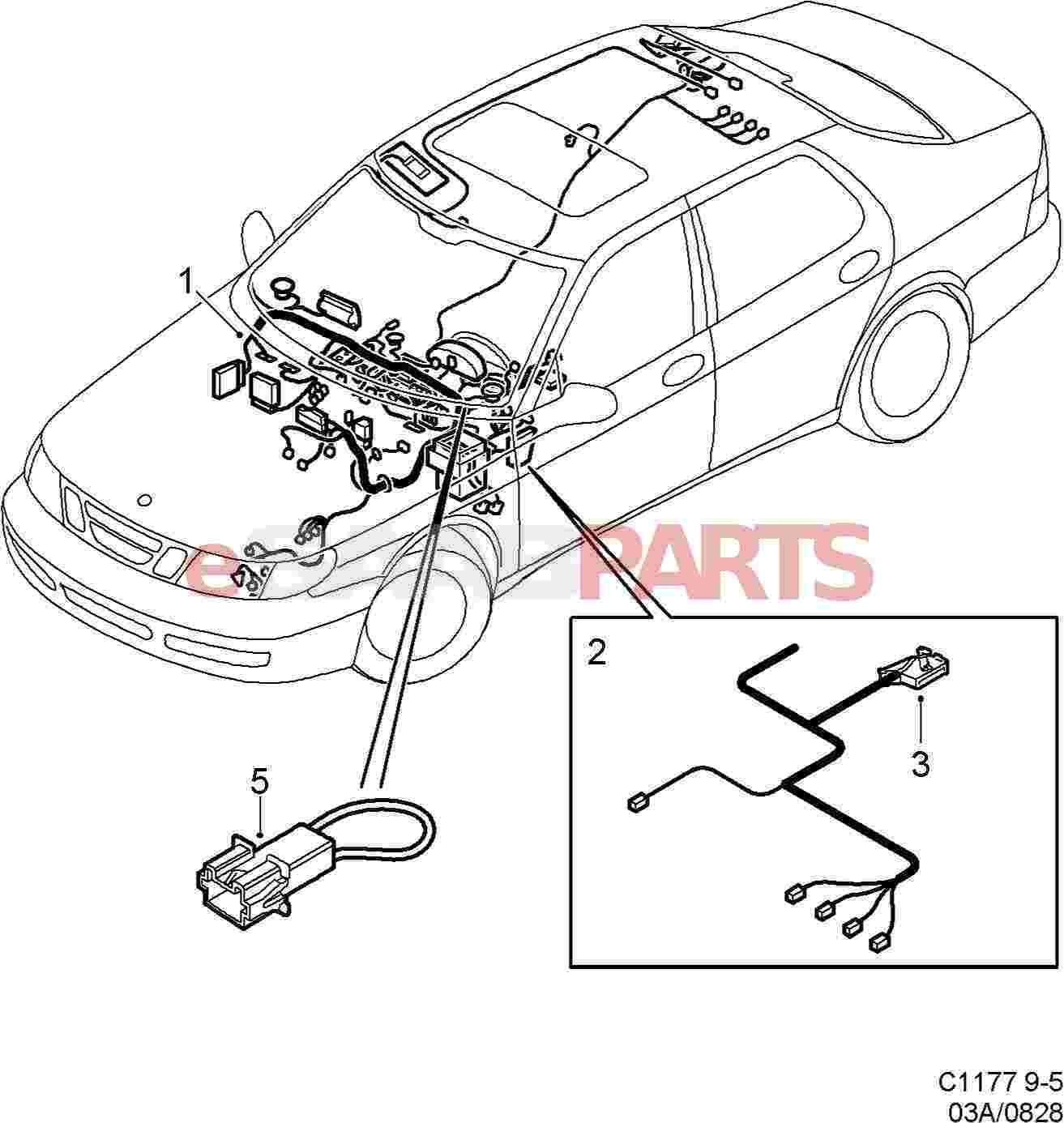 hight resolution of esaabparts com saab 9 5 9600 electrical parts wiring harness instrument panel