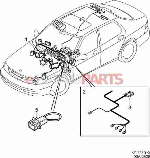 small resolution of esaabparts com saab 9 5 9600 electrical parts wiring harness instrument panel