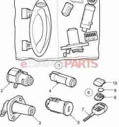 esaabparts com saab 9 5 9600 car body external parts locks related lock lock cylinder set [ 1310 x 1641 Pixel ]