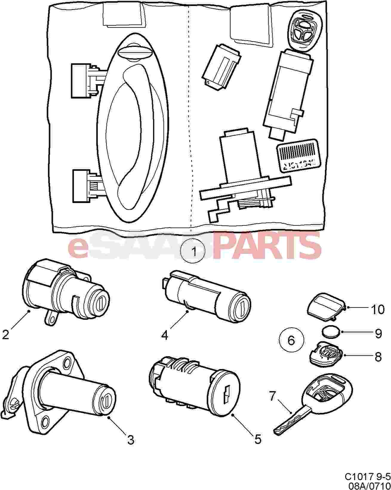 hight resolution of esaabparts com saab 9 5 9600 car body external parts locks related lock lock cylinder set