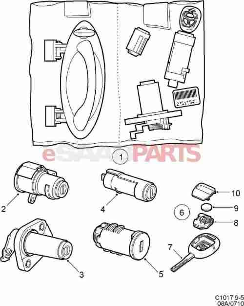 small resolution of esaabparts com saab 9 5 9600 car body external parts locks related lock lock cylinder set