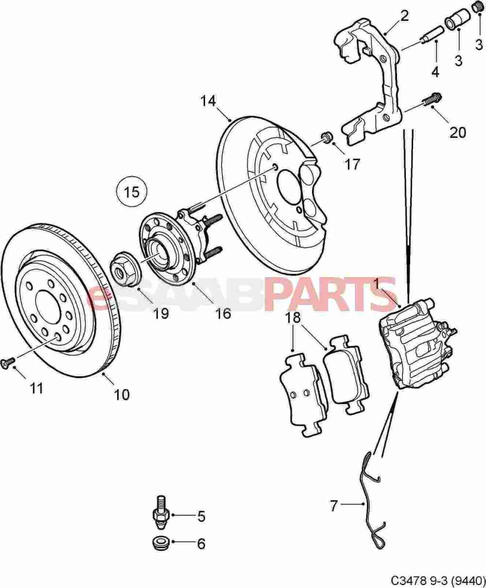 medium resolution of saab brakes diagram online wiring diagram93172185 saab brake caliper right rear 292mm brakes genuinesaab brakes