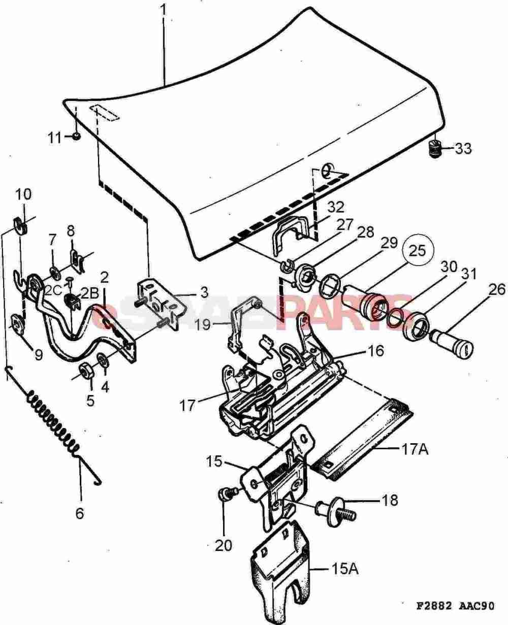 medium resolution of saab 900 parts car body external trunk related trunk lid lock