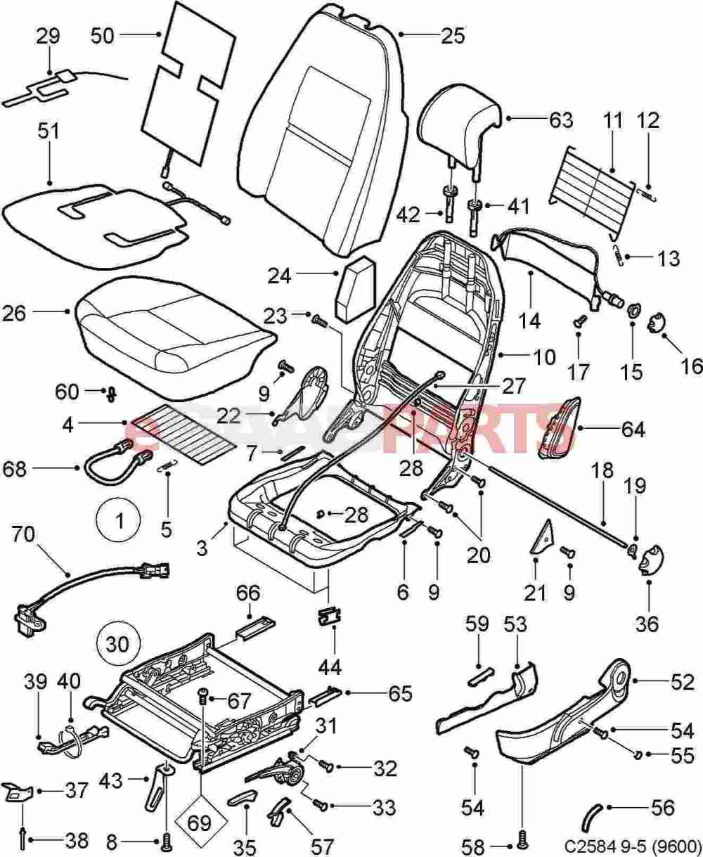 medium resolution of esaabparts com saab 9 5 9600 u003e car body internal parts u003e seat rh esaabparts com