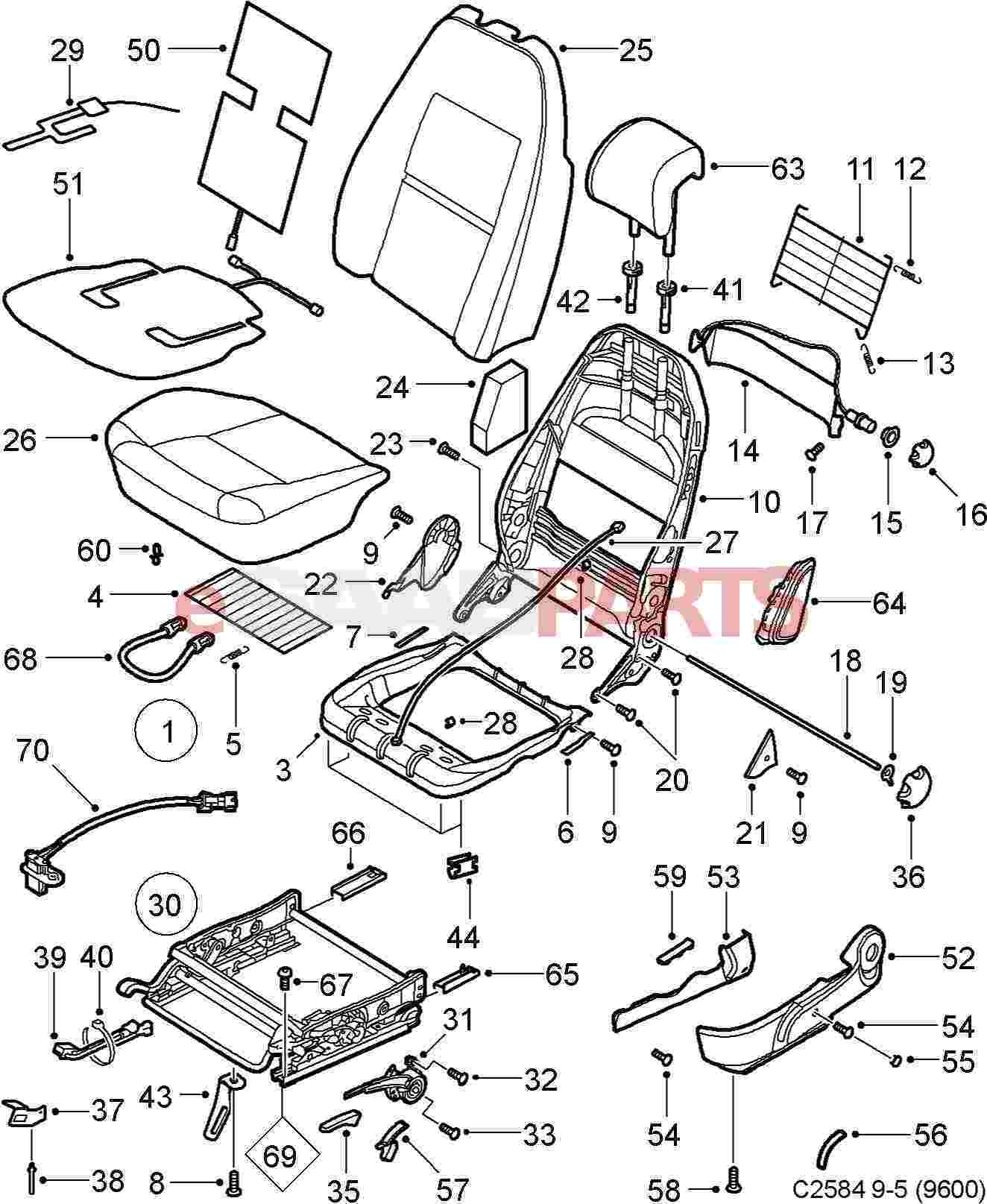hight resolution of esaabparts com saab 9 5 9600 u003e car body internal parts u003e seat rh esaabparts com