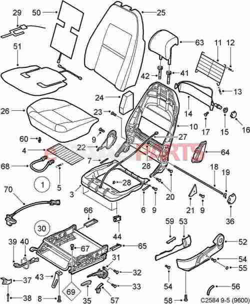 small resolution of esaabparts com saab 9 5 9600 u003e car body internal parts u003e seat rh esaabparts com