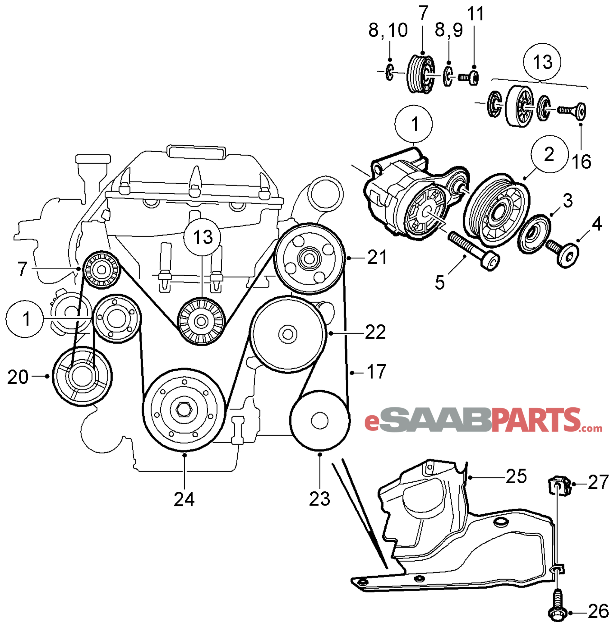 Saab Belt Tensioner