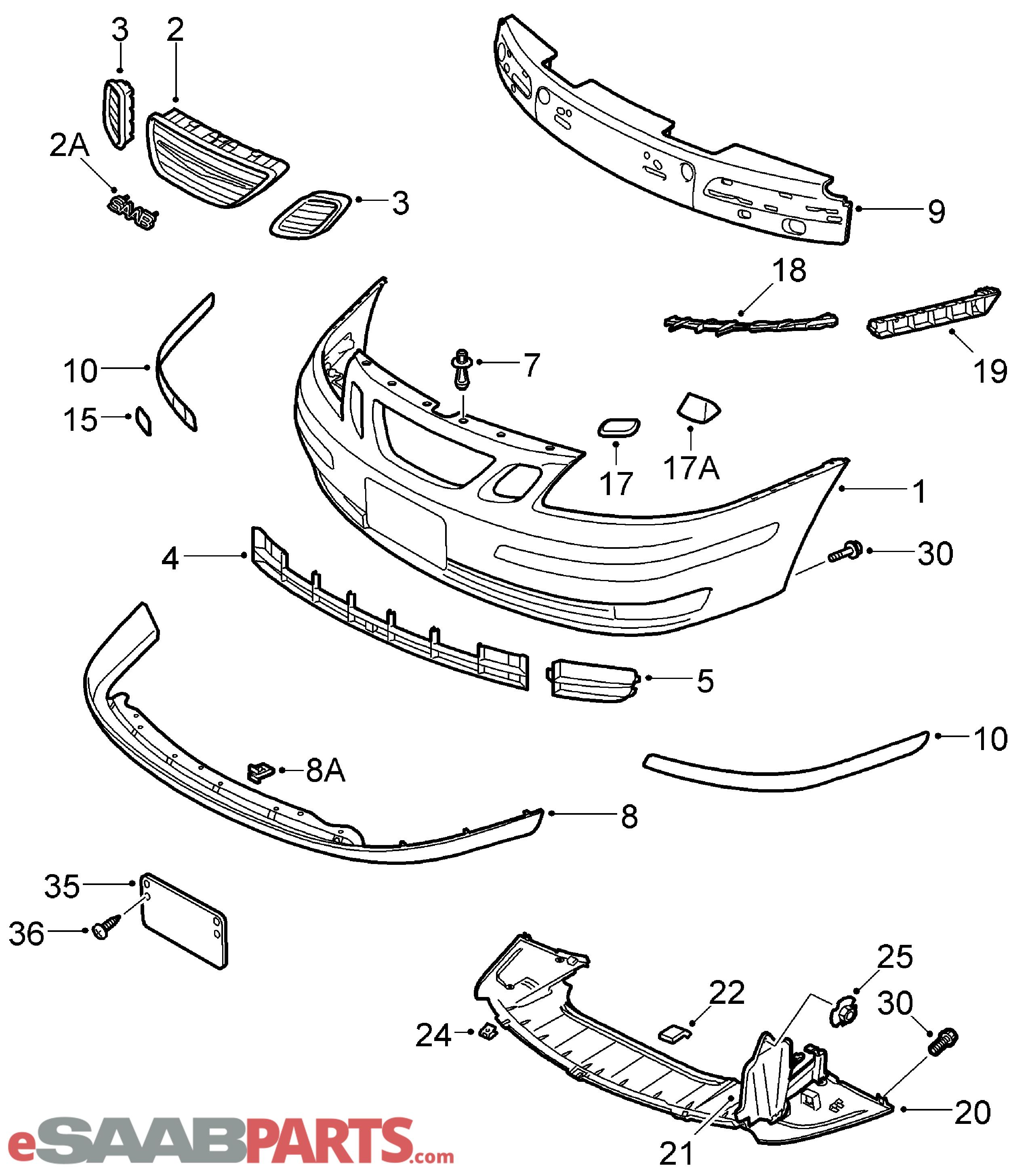[32016151] SAAB Front Lip Spoiler, 9-3 Aero/Vector 03-07