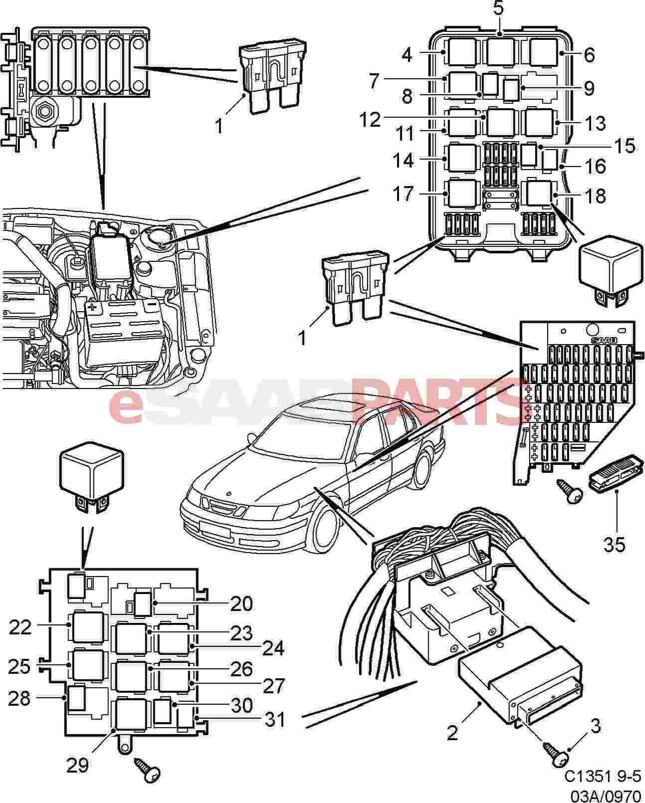 hight resolution of  2005 saab 9 3 fuse box wiring diagram and fuse box